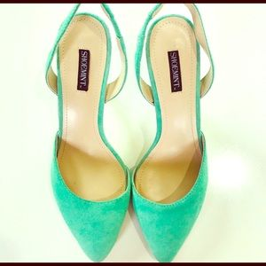Mint green faux suede shoes